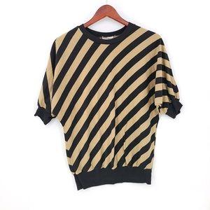 Vintage Two Tones Diagonal Stripes Top